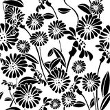 Seamless floral background, graphic pattern Stock Photos