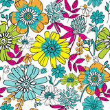 Seamless floral background. Hand drawn flowers and leafs on whit Stock Images