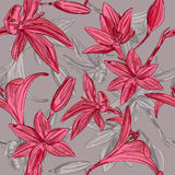 Seamless floral background with hand drawn flowers. Vector EPS10 Royalty Free Stock Photo