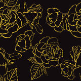 Seamless floral background with hand drawn gold roses. Vector EPS10 Stock Photo