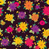 Seamless Floral Background.  Hand Drawn Floral Pattern. Royalty Free Stock Photography