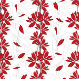 Seamless floral background. Seamless floral pattern. Vector background with elegant abstract red flowers Royalty Free Stock Photo