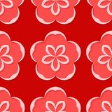 Seamless floral background. Red 3d pattern. Vector illustration Royalty Free Stock Images