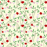 Seamless floral background with red flowers vector illustration