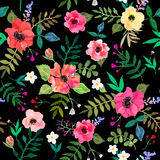 Seamless floral  background.  red flowers and leafs draw. N watercolor on black background. Vector illustration Royalty Free Stock Photo