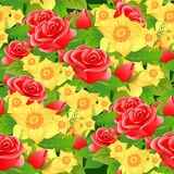 Seamless floral background of roses, daffodils and leaves. Stock Photos