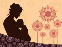 Seamless floral background with silhouette Stock Photo