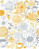Seamless floral background with teapots Stock Photo