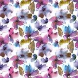 Seamless floral background. Transparent floral petals. Textile pattern template. Purple flowers seamless pattern. Watercolor colorful flowers. Wedding stock illustration