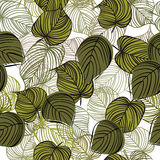 Seamless floral background with tree leaves. In color mode Stock Photography