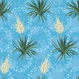 Seamless floral background, Yucca flowers. And abstract blue pattern with rings. Vector vector illustration
