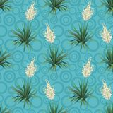 Seamless floral background, Yucca flowers. And abstract blue pattern with rings. Vector royalty free illustration