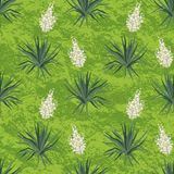 Seamless floral background, Yucca flowers. And abstract green pattern. Vector stock illustration