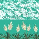 Seamless floral background, Yucca flowers. And abstract grungy pattern. Vector vector illustration