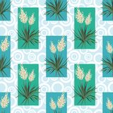 Seamless floral background, Yucca flowers. Abstract pattern with blue green rectangles and rings. Vector vector illustration