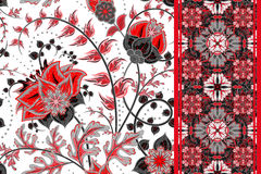 Seamless floral backgrounds and border. Set of vector patterns with fantasy flowers royalty free illustration