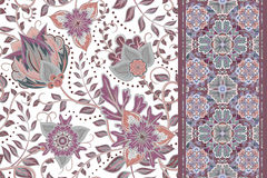Seamless floral backgrounds and border. Set of vector patterns with fantasy flowers stock illustration