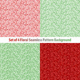 Seamless floral backgrounds and borders. Set of vector patterns with pink climbing roses. Stock Photography