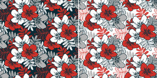 Seamless floral backgrounds. Light and dark floral backgrounds with seamless pattern stock illustration