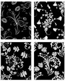 Seamless floral backgrounds set stock photos