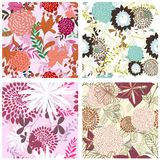Seamless floral backgrounds set stock illustration