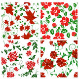 Seamless floral backgrounds set Stock Image