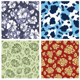 Seamless floral backgrounds set. Seamless vector floral backgrounds set. For easy making seamless pattern just drag all group into swatches bar, and use it for Royalty Free Stock Images