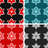 Seamless floral backgrounds. Set of colored 3d patterns. Vector illustration royalty free illustration