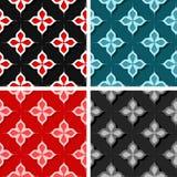 Seamless floral backgrounds. Set of colored 3d patterns. Vector illustration vector illustration