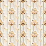 Seamless floral beige pattern texture on striped Stock Images