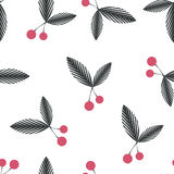 Seamless floral berry cherry pattern on white Stock Photos