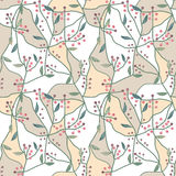 Seamless floral berry pattern on beige white Stock Images