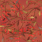 Seamless floral berry pattern on brown background Royalty Free Stock Photo