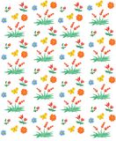Seamless floral and berry pattern. Watercolor Children`s style. vector illustration