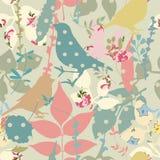 Floral seamless with birds Stock Photos