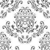 Seamless floral black damask Ornament on white. Royalty Free Stock Images
