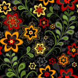 Seamless floral black pattern Stock Photo