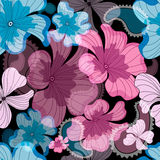 Seamless floral black pattern Stock Photos