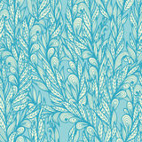 Seamless floral blue doodle pattern Stock Photo