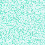 Seamless floral blue pattern with abstract leafs Stock Images