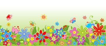 Seamless floral border Stock Images