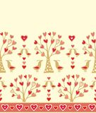 Seamless loral border with birds Royalty Free Stock Images