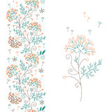 Seamless floral border and flower Stock Photo