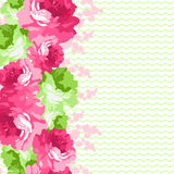 Seamless floral border with pink roses. Seamless floral border with pink and light green roses Stock Photos