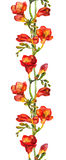Seamless floral border with red watercolor flowers freesias Stock Photos