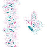 Seamless floral border and small bouquet. Royalty Free Stock Photography