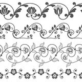 Seamless floral border template. Seamless floral border vector template. Ornament repeating divider Stock Images