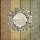 Seamless floral borders on  crumpled golden foil Royalty Free Stock Image