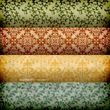 Seamless  Grungy Floral Borders. Seamless floral borders on grungy crumpled paper Stock Photos
