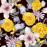 Seamless floral botanical pattern with wildflowers Royalty Free Stock Photos
